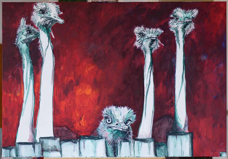 struisvogel doek acryl schilderij