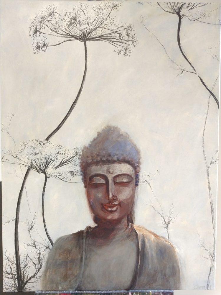 buddha acryl op doek houtskool