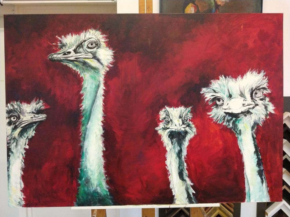 struisvogels acryl op doek