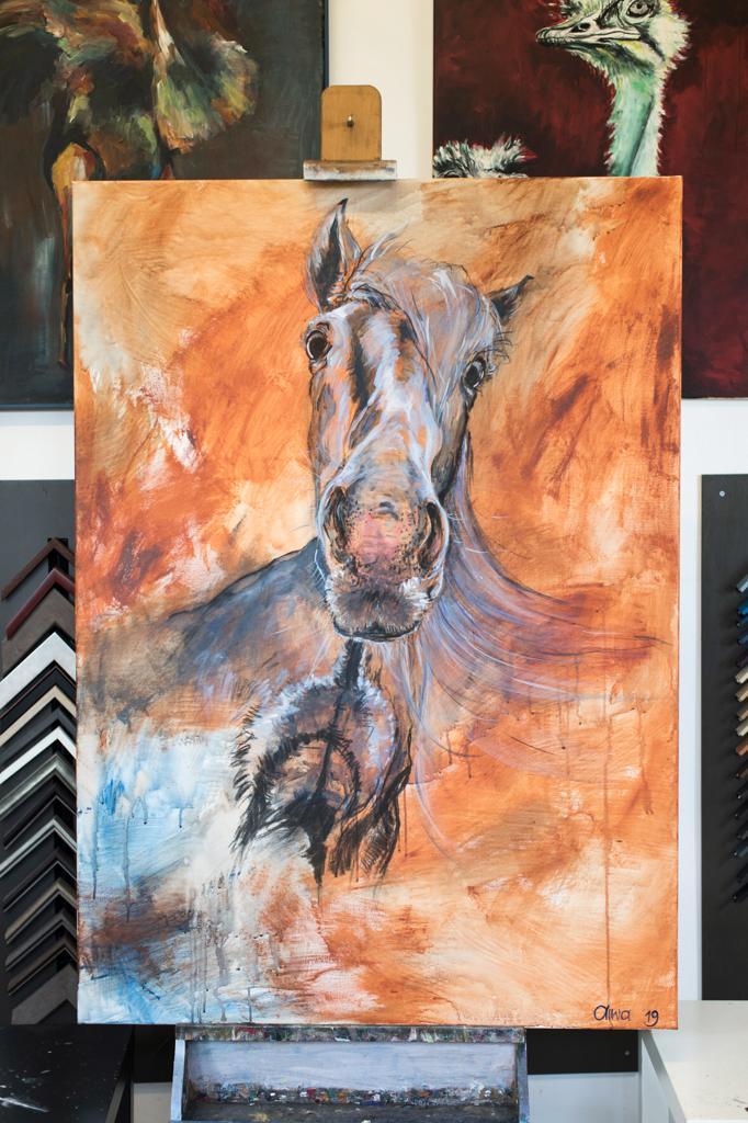 Luskentyre pony isle of Harris acryl doek houtskool